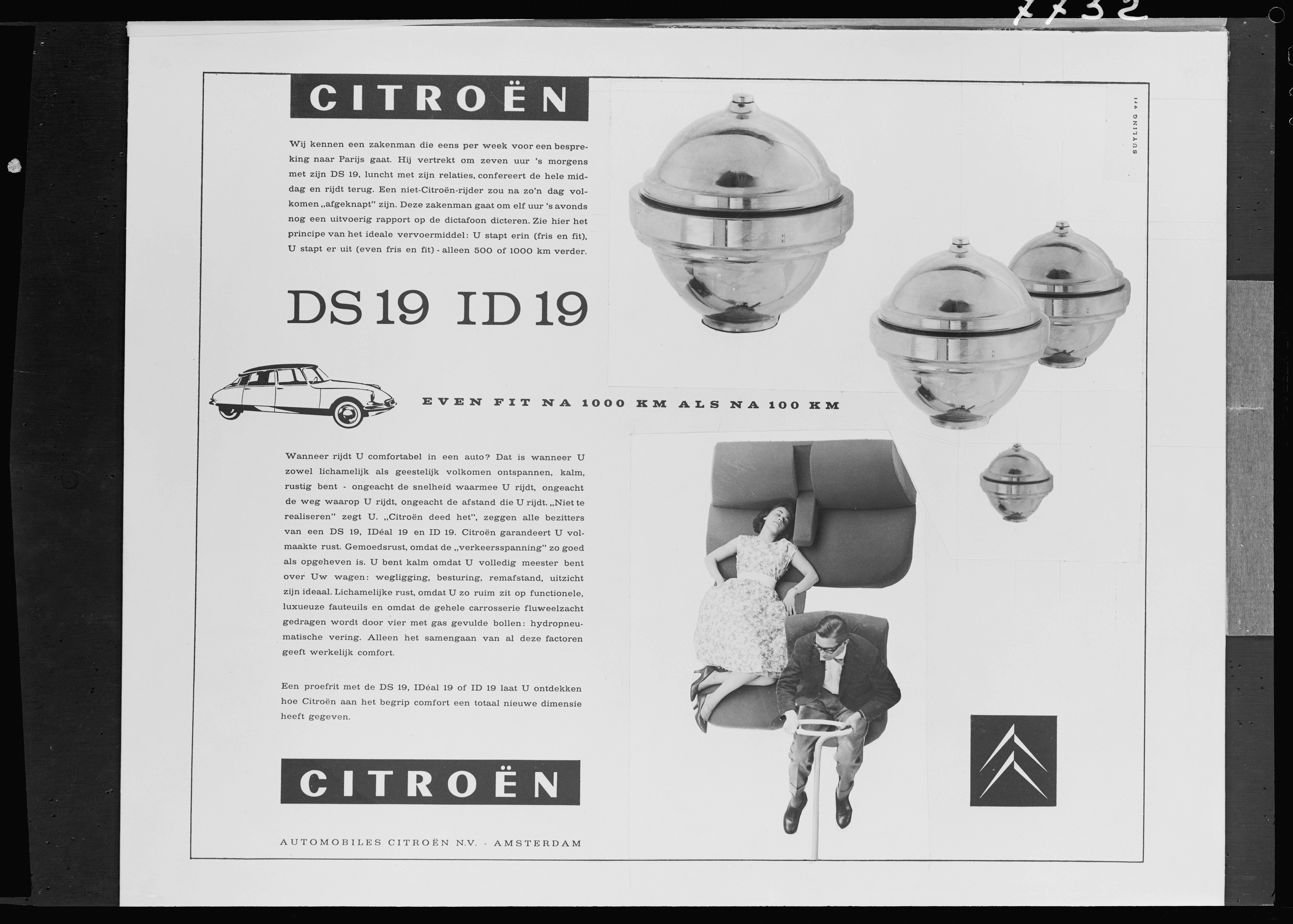 Publicité Pays-Bas DS 19 - 1959