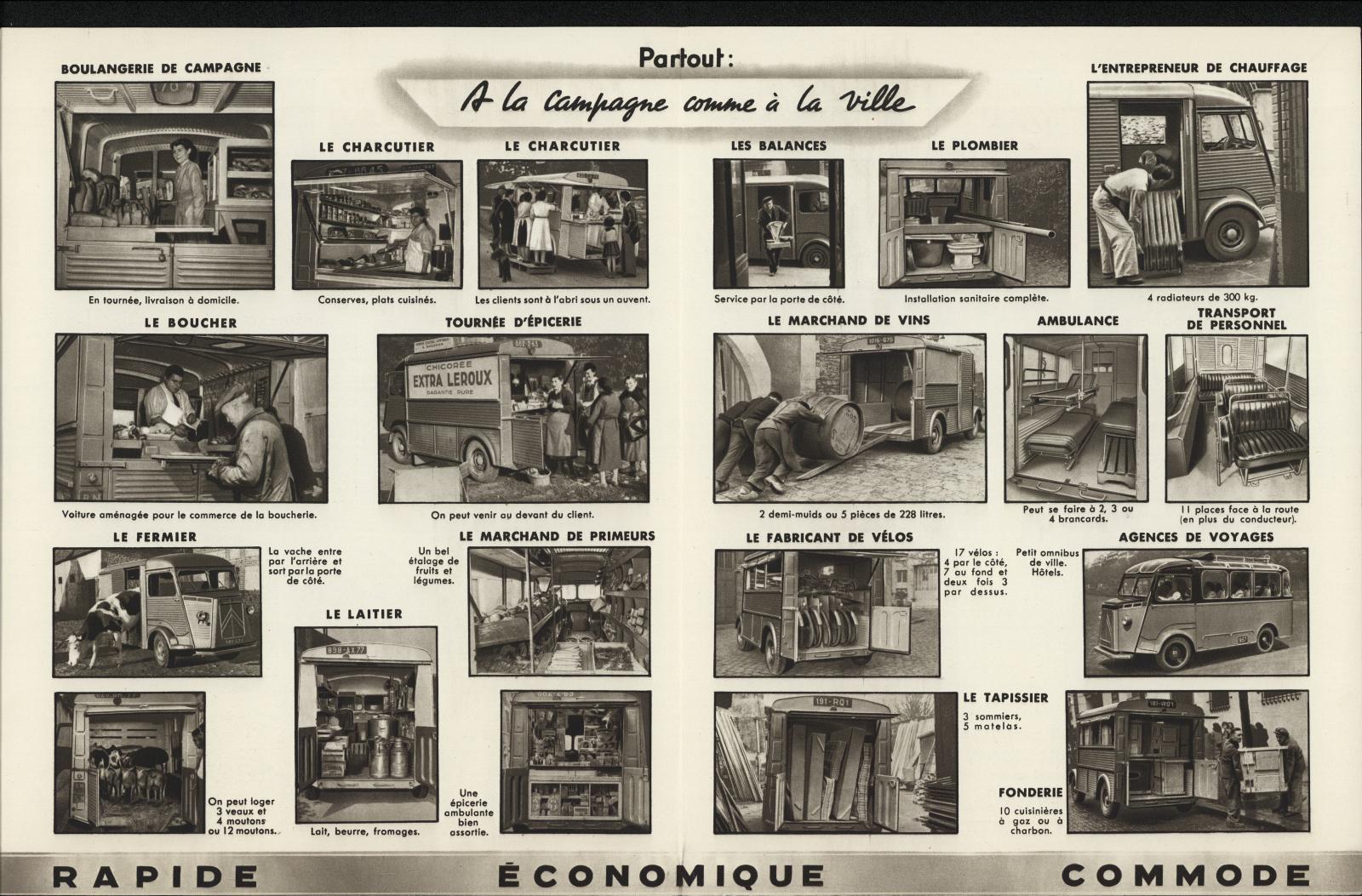 Prospekt mit unterschiedlichen Einsatzzwecken des Typ H im Jahre 1950