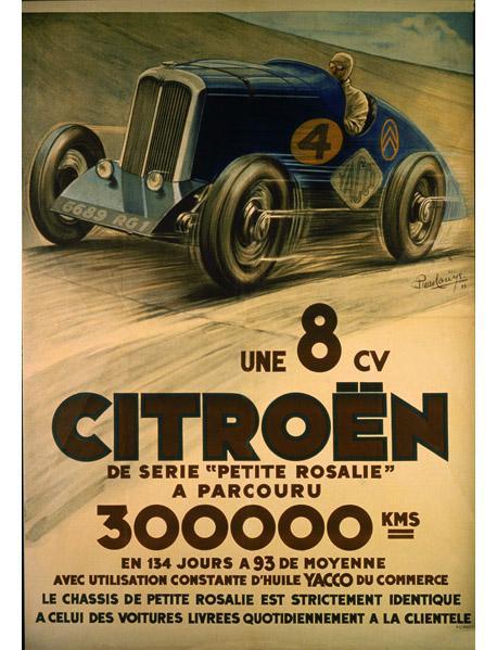 Petite Rosalie 1932 Affiche Voiture de records