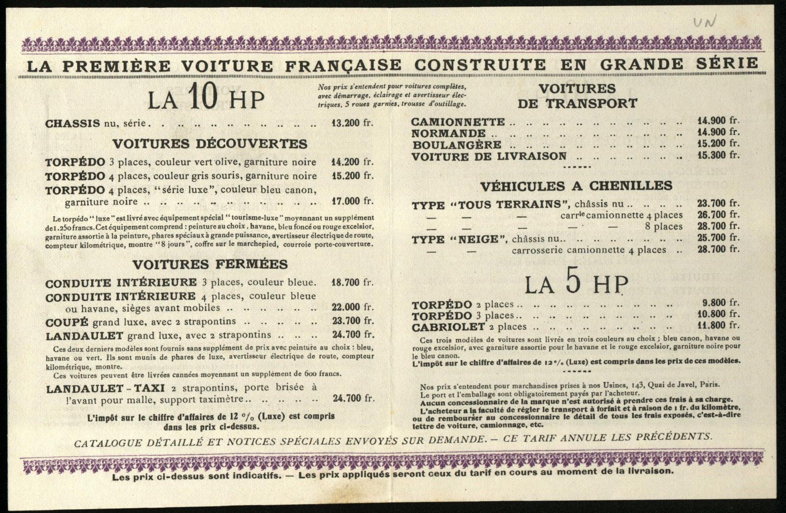Preisliste 5 HP 1924